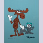 Original Jay Ward Productions Scene Cel featuring Rocky and Bullwinkle, Signed by Jay Ward
