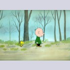 Original Peanuts Production Cel featuring Charlie Brown and Woodstock