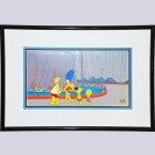 Original Simpsons Pan Production Cel featuring Bart, Lisa, Homer, Marge, & Maggie
