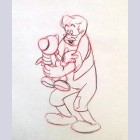 Original Walt Disney Production Drawing from Pinocchio featuring Pinocchio and Geppetto
