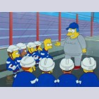 Original Simpsons Production Cel featuring Bart with his hockey team