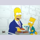 Original Simpsons Production Cel from the Simpsons featuring Homer and Bart