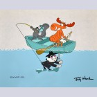 Original Jay Ward Productions Scene Cel featuring Rocky, Bullwinkle, Boris Badenov, Signed by Jay Ward
