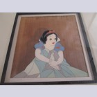 Walt Disney Production Cel on Courvoisier Background Snow White and the Seven Dwarfs