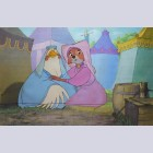 Original Disney Production Cel from Robin Hood featuring Lady Kluck and Maid Marian