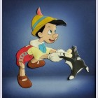 Original Walt Disney Production Cel on Courvoisier Background featuring Pinocchio