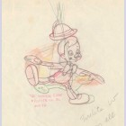 Original Walt Disney Production Drawing from Pinocchio featuring Pinocchio