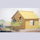 Original Walt Disney Production Cel on Pan Production Background from Pluto's Dream House (1940)
