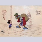 Original Walt Disney Production Cel from Mickey's Christmas Carol featuring Scrooge McDuck and Tiny Tim