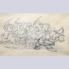 Original Walt Disney Production Drawing from Snow White and the Seven Dwarfs Featuring the Seven Dwarfs, Signed by Shamus Culhane