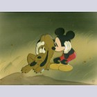 Original Walt Disney Production Cel on Courvoisier Background from Society Dog Show (1939) featuring Mickey and Pluto