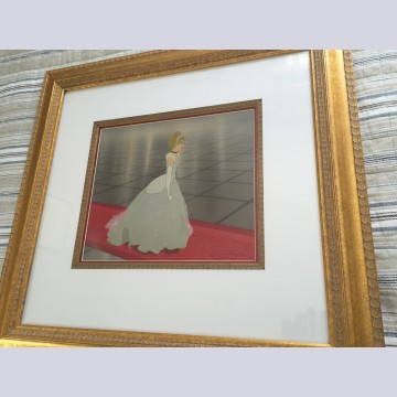Original Walt Disney Production Cel on Production Background Featuring Cinderella