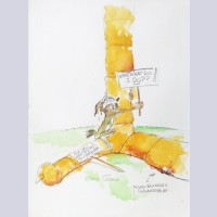 "Original Chuck Jones Watercolor ""Now, What Do I Do??"" featuring Wile E. Coyote"