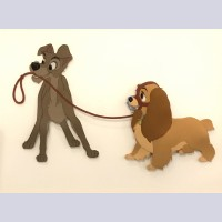 Original Walt Disney Production Cel from Lady and the Tramp featuring Tramp and Lady