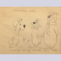 Hanna Barbera Model Sheet from The Huckleberry Hound Show featuring Huckleberry, Pixie, Dixie, Mr. Jinks, and Yogi Bear