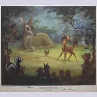 Original Bambi Meets His Forest Friends Lithograph Signed By Frank Thomas And Ollie Johnston