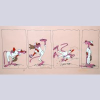 Original United Artists Pictures Pink Panther Limited Edition Cel, Pink Panther Baseball, Signed by Friz Freleng