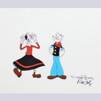 Original Production Cel of Popeye and Olive Oyl signed by Dan Hunn and Rob Fritz
