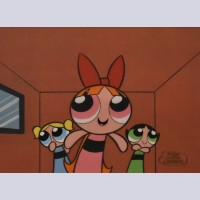 Cartoon Network Production Cel Powerpuff Girls featuring Buttercup, Blossom, and Bubbles