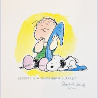 Charles Schulz Signed Lithograph, Security is a Thumb and Blanket