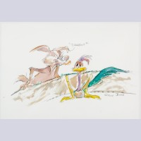"Original Chuck Jones Watercolor ""Turnabout?"" featuring Wile E. Coyote and Roadrunner"