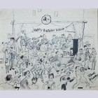 """Original Walt Disney Animation Art Drawing from Jack Kinney's """"Walt Disney and Assorted Other Characters,"""" Signed by Jack Kinney"""