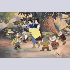 Original Walt Disney Limited Edition Cel from Snow White featuring Snow White, Prince, and the Dwarfs